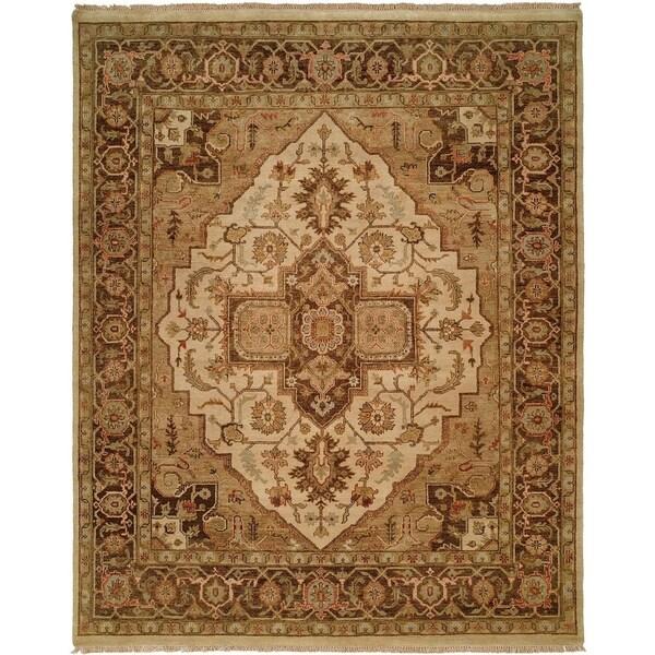 Oushak Ivory/Brown Wool Handmade Vintage Area Rug - 10' x 10'