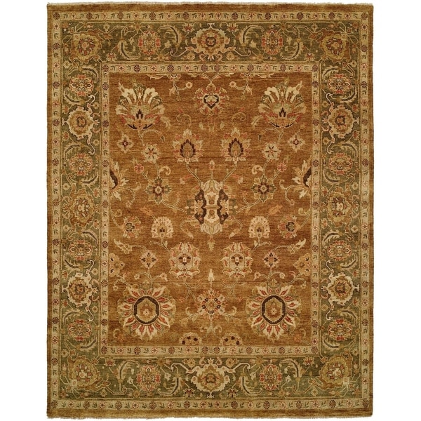 Oushak Goldy Brown/Green Handmade Wool Area Rug (6' Square)