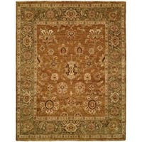 Oushak Goldy Brown and Green Hand-Knotted Area Rug - 6' Square