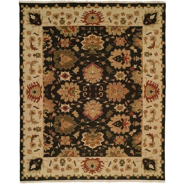 Black/Ivory Wool Handmade Soumak Area Rug - 6' x 6'