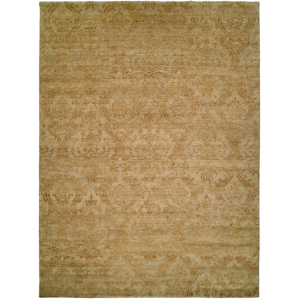 Royal Manner Derbyshire Light Green / Gold Hand-Knotted Area Rug (8' Square) - 8' Square