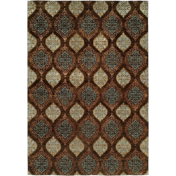Royal Manner Derbyshire Brown Handmade Wool Area Rug (6' Square)