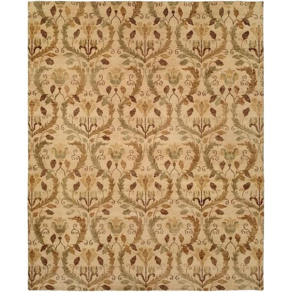 Royal Manner Derbyshire Warm Sand Wool Handmade Area Rug - 6' x 6'
