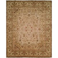 Oushak Earthy Tones Brown Wool Handmade Square Area Rug - 6' x 6'