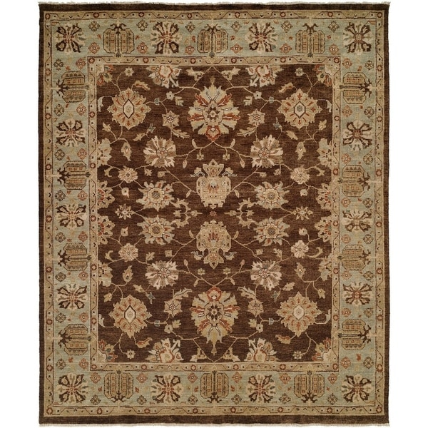 Oushak Brown and Light Blue Hand-Knotted Area Rug (6' Square) - 6' Square
