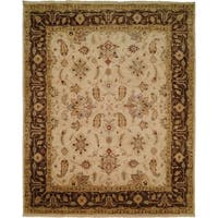 Oushak Ivory/Brown Wool Handmade Area Rug