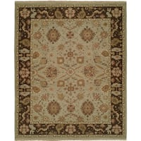 Soumak Light Blue / Brown Hand-Knotted Soumak Area Rug (6' Square) - 6' Square