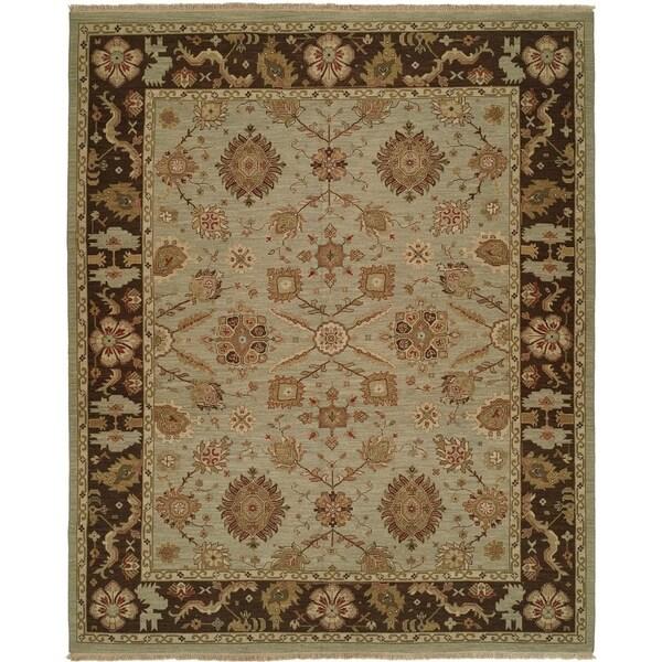 Soumak Brown/Light Blue Wool/Cotton Handmade Tibetan Area Rug - 6' x 6'
