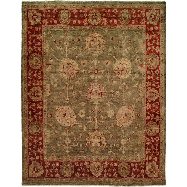 Oushak Green and Rust Hand-Knotted Area Rug (6' Square) - 6' Square