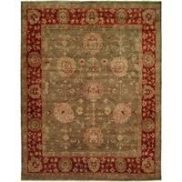 Green/Rust Wool Handmade Oushak Area Rug - 6' x 6'