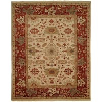Oushak Ivory/Rust Hand-Knotted Area Rug - 8' Square