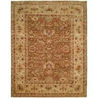 "Traditional Medium Brown/Ivory Hand-Knotted Area Rug (2'6"" x 8') - 2'6"" x 8'"