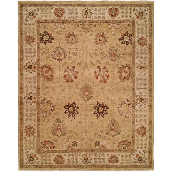Oushak Gold and Ivory Handmade Wool Area Rug (8' x 8')