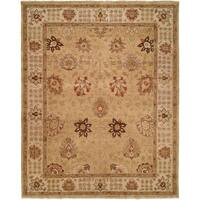 Oushak Gold and Ivory Hand-Knotted Area Rug (8' Square) - 8' Square