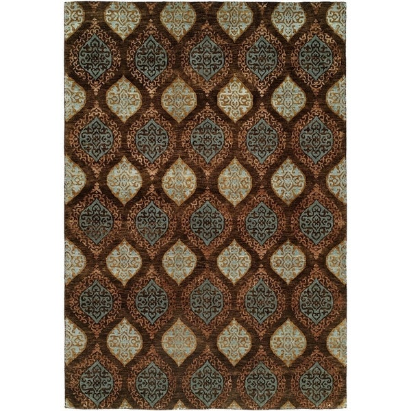 Royal Manner Derbyshire Brown Wool Handmade Area Rug - 8' x 8'