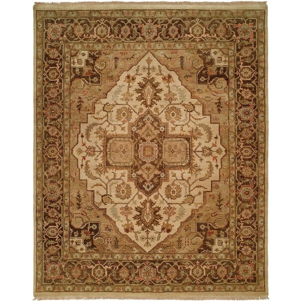 Oushak Ivory and Brown Hand-Knotted Area Rug (8' Square) - 8' Square