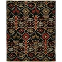 Caspian Black Handmade Soumak Wool Area Rug