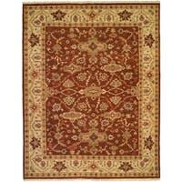 Soumak Brown/Ivory Wool Handmade Area Rug - 4' x 8'
