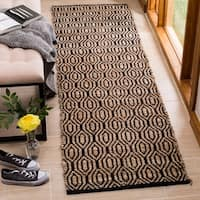 "Safavieh Handmade Cape Cod Coastal Black / Natural Jute Rug - 2'3"" x 8'"