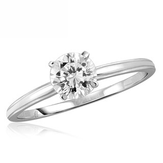 Diamonice 1.00 Carat Cubic Zirconia (AAA) Sterling Silver Solitaire Ring