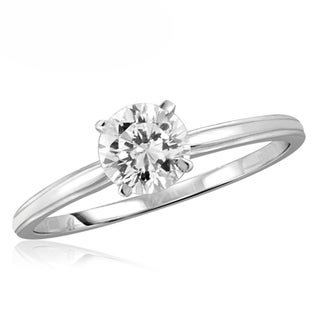 Diamonice 0.75 Carat Cubic Zirconia (AAA) Sterling Silver Solitaire Ring