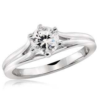 Diamonice 0.85 Carat Cubic Zirconia (AAA) Sterling Silver Solitaire Ring