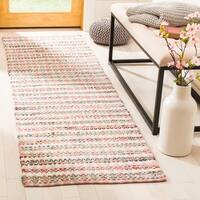 Safavieh Hand-Woven Montauk Contemporary Pink / Multi Cotton Rug (2'3' x 8')
