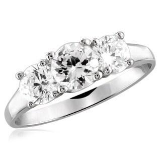 Diamonice 1.00 Carat Cubic Zirconia (AAA) Sterling Silver Three Stone Ring