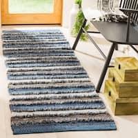 Safavieh Hand-Woven Montauk Contemporary Blue / Multi Cotton Rug - 2'3' x 8'