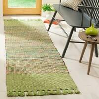 Safavieh Hand-Woven Montauk Contemporary Green / Multi Cotton Rug - 2'3' x 8'
