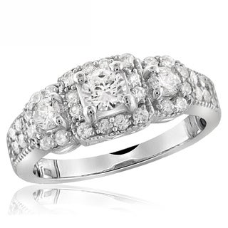 Diamonice 1.35 Carat Cubic Zirconia (AAA) Sterling Silver Fashion Ring