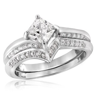 Diamonice 1.00 Carat Cubic Zirconia (AAA) Sterling Silver Bridals Ring