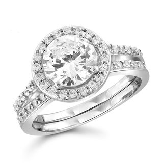 Diamonice 2.60 Carat Cubic Zirconia (AAA) Sterling Silver Bridal Ring