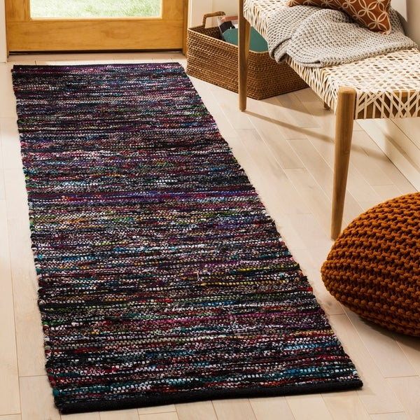 Woven Cotton Rag Rug Runner: Shop Safavieh Hand-Woven Rag Rug Casual Black / Red Cotton