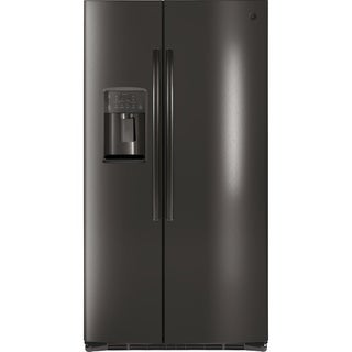 GE ENERGY STAR 25.3 Cu. Ft. Side-By-Side Refrigerator in black stainless