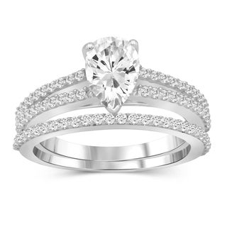 Diamonice 1.50 Carat Cubic Zirconia (AAA) Sterling Silver Bridals Ring