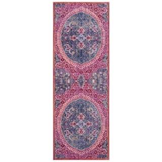 Safavieh Sutton Nilgul Boho Oriental Polyester Rug (3 x 10 Runner - Turquoise/Fuchsia)