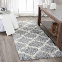"Sweethome Stores Cozy Collection Moroccan Trellis Design Shag Runner Rug - 2'0"" x4'11"""