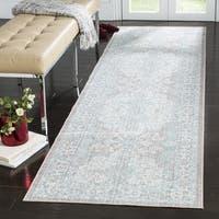 Safavieh Windsor Bohemian Light Grey / Aqua Cotton Rug (3' x 12') - 3' x 12'