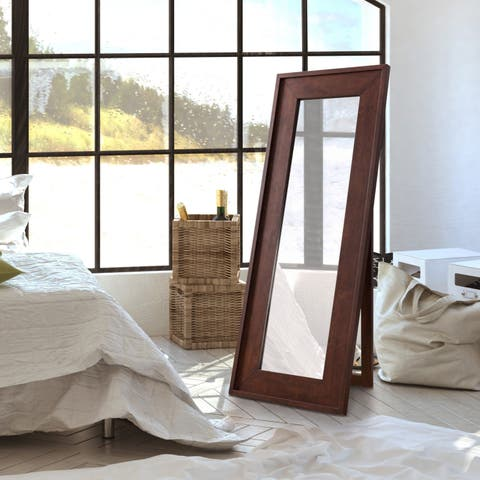 Furniture of America Larsen Rustic Vintage Walnut Full Length Mirror - A/N