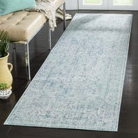Safavieh Windsor Bohemian Seafoam / Blue Cotton Rug - 3' x 12' Runner