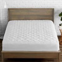 Quilted Fitted Mattress Pad - Cooling Mattress Topper - Hypoallergenic Down Alternative Fiberfill - Stretch-To-Fit - White