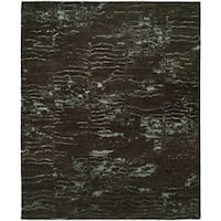 Origins Charcoal / Blue Hand-Knotted Area Rug (8' x 10') - 8' x 10'