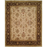 Oushak Ivory/Brown Hand-Knotted Area Rug (11' x 16') - 11' x 16'