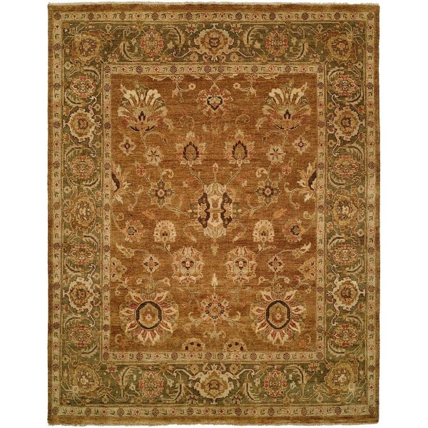 Shop Oushak Goldy Brown Green Hand Knotted Area Rug 11 X 16 11