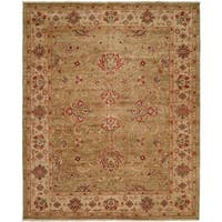 Bashir Green/Ivory Hand-Knotted Area Rug (12' x 15') - 12' x 15'