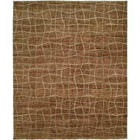 Jade Brown Hand-Knotted Area Rug (11' x 16') - 11' x 16'