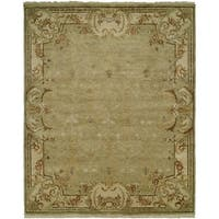 Tuscany Green/Ivory Hand-Knotted Area Rug (11' x 16') - 11' x 16'
