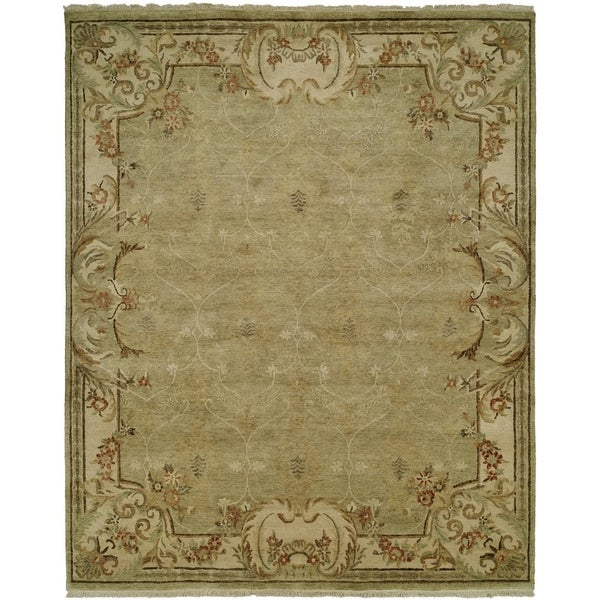 Shop Tuscany Green Ivory Hand Knotted Area Rug 11 X 16 11 X