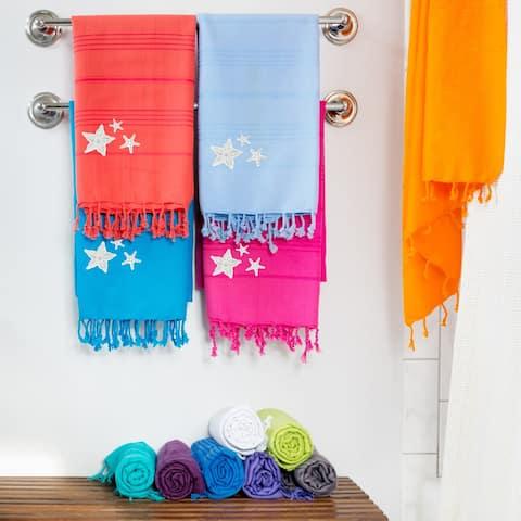 Authentic Pestemal Fouta Embroidered Starfish Turkish Cotton Bath/ Beach Towel